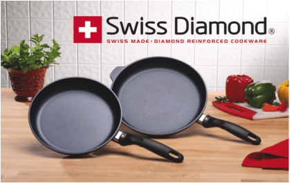 Swiss Diamond logo with 2 pans